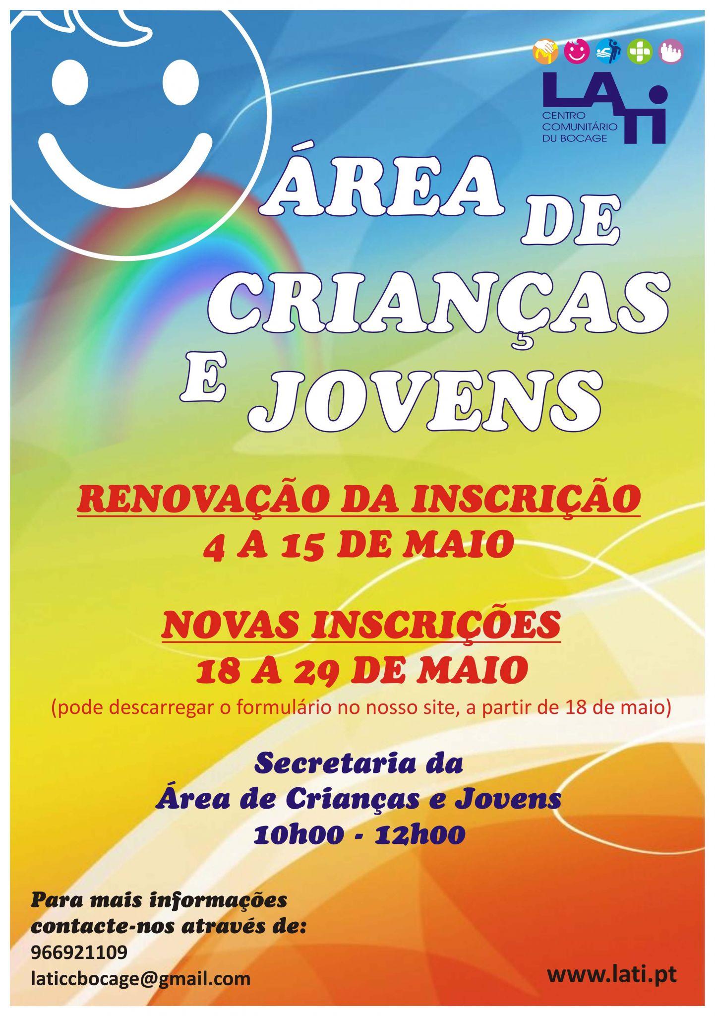 Abertas as Renovações/ Inscrições na Área de Crianças e Jovens