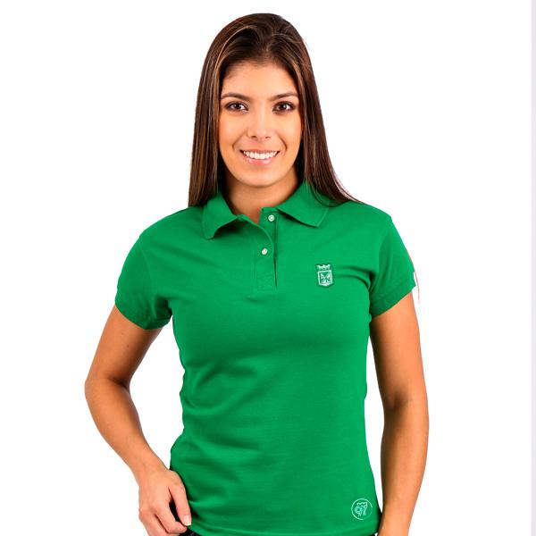 1ef35524d802e Camiseta Atlético Nacional Tipo Polo verde para mujer - Los Del Sur ...