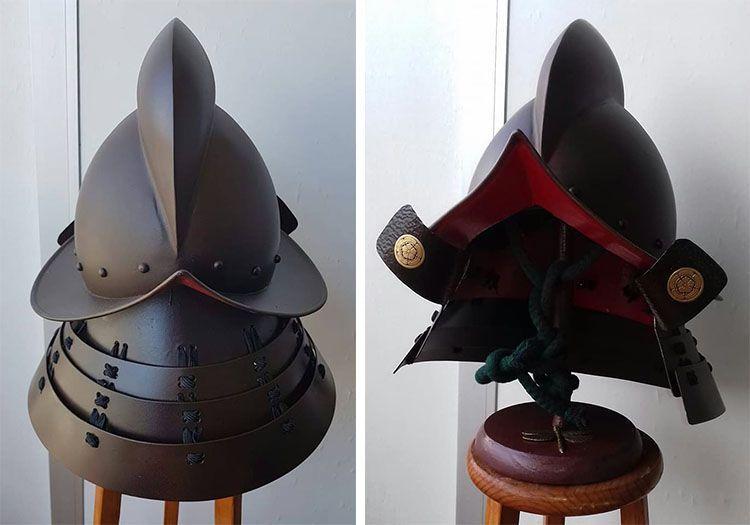 Kabuto creado por Idaten Royo a partir de nuestro morrión (foto de I. Royo)