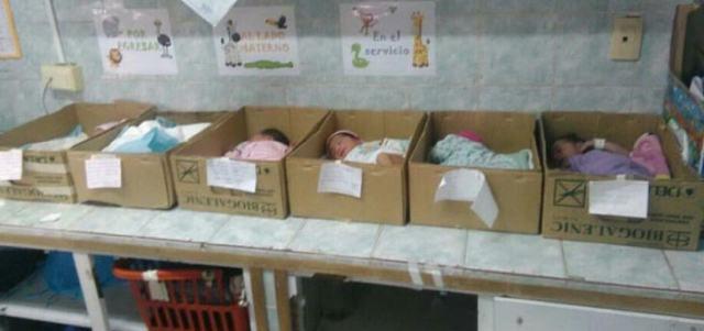 Neugeborene schlafen in Pappschachteln