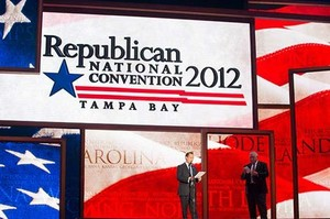 Checking out the main stage for GOP 2012 Convention - AFP photo