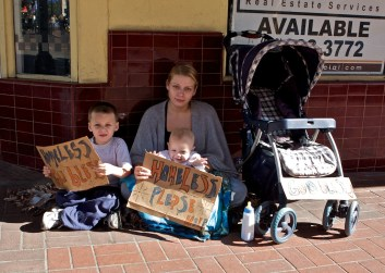 An American homeless family