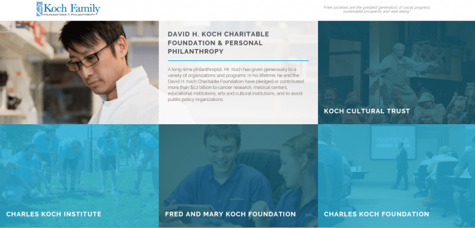 giving back during Holiday Season Koch Foundation website