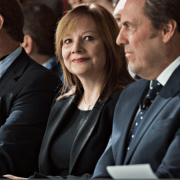 Johan De Nysschen, president of General Motors Co.'s Cadillac unit, left, Mary Barra, chief executive officer of General Motors Co. (GM), and Mark Reuss, executive vice president of global product development at GM,