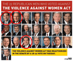 22 Senate Members who voted against the Violence Against Women Act in 2014. In red circles running Presidential candidates Marco Rubio, Ted Cruz and Majority Leader Mitch McConnell.