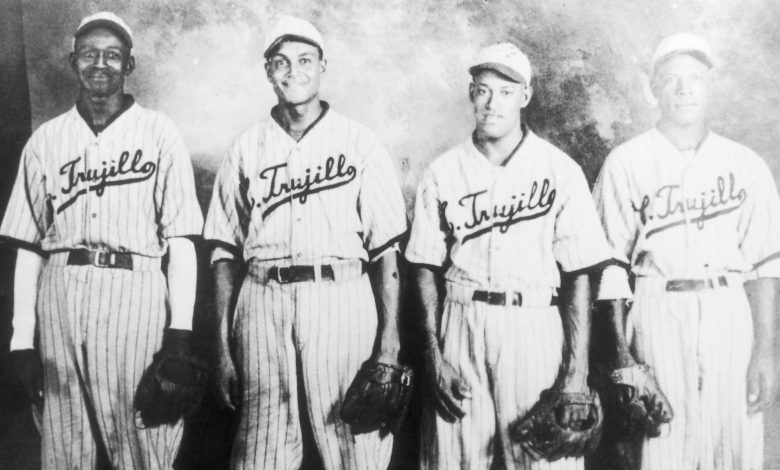 Starting pitching staff of the 1937 champion Dragones del Ciudad Trujillo (l. to r.): Negro Leagues legend Satchel Paige, Robert Griffin, Rodolfo Fernandez and Leroy Madl.