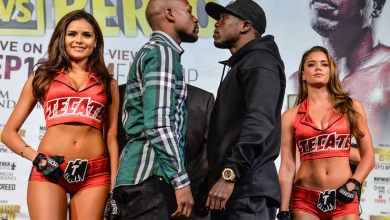 Photo of Floyd Mayweather and Andre Berto's Las Vegas Press Conference