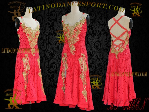 LDS-35-Ballroom Latin Dance Dress Tailored Stoned Competition