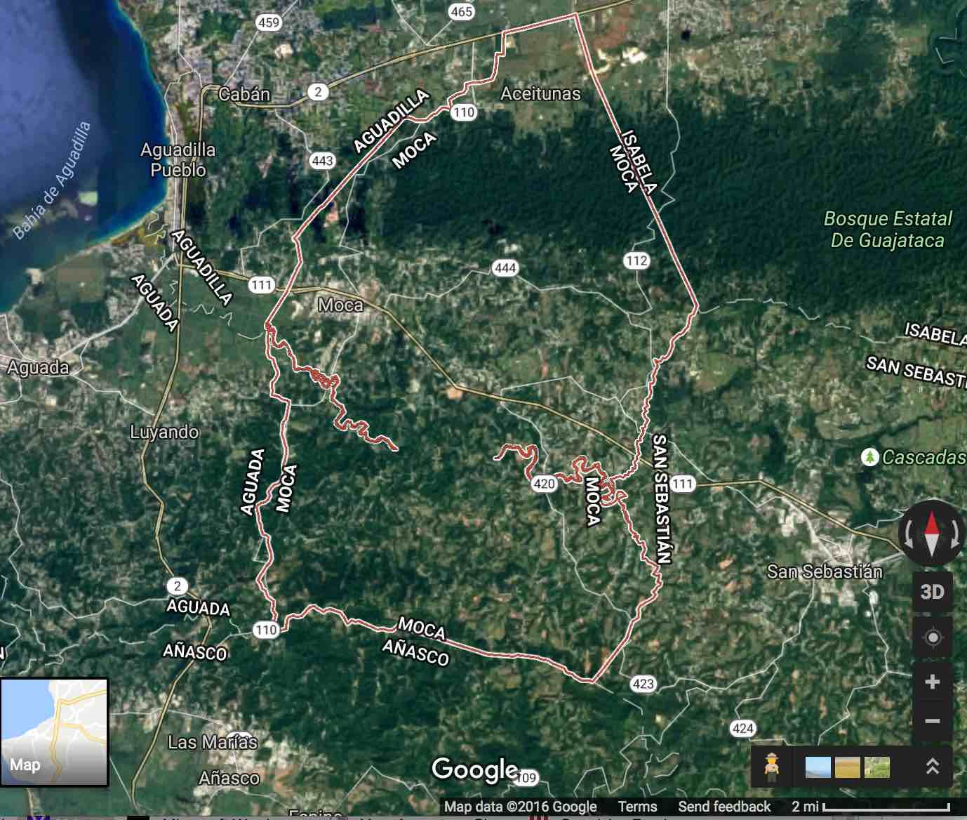Moca Google Maps 2016Contrast the outline of