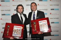 Trendsetters Antonio Ruiz-Gimenez and Eder Holguin hold up their awards