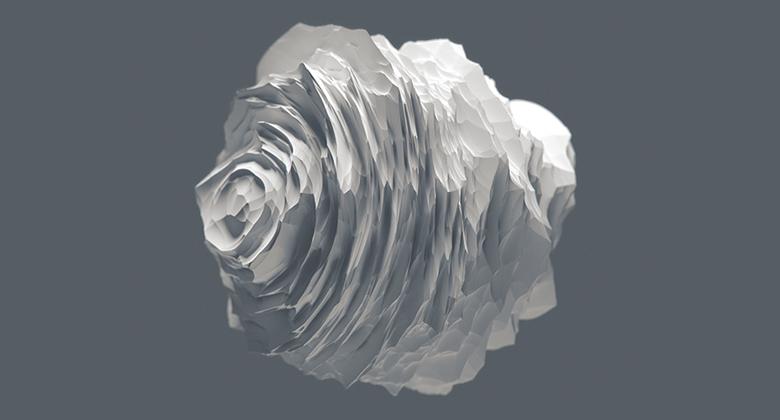 Floating striated sphere/paper flower-like.