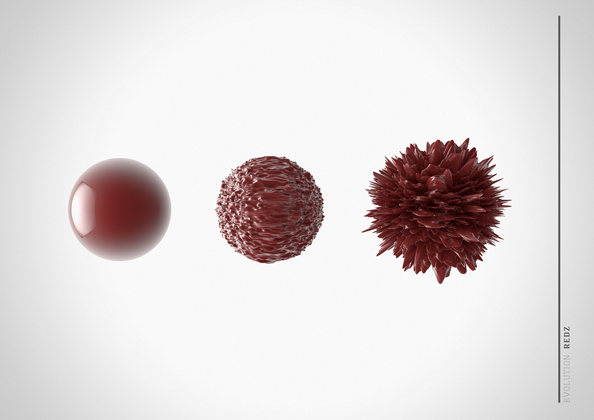 Three red spheres. The first sphere is smooth, The second sphere is textured. The third sphere is spiky, thick texture.