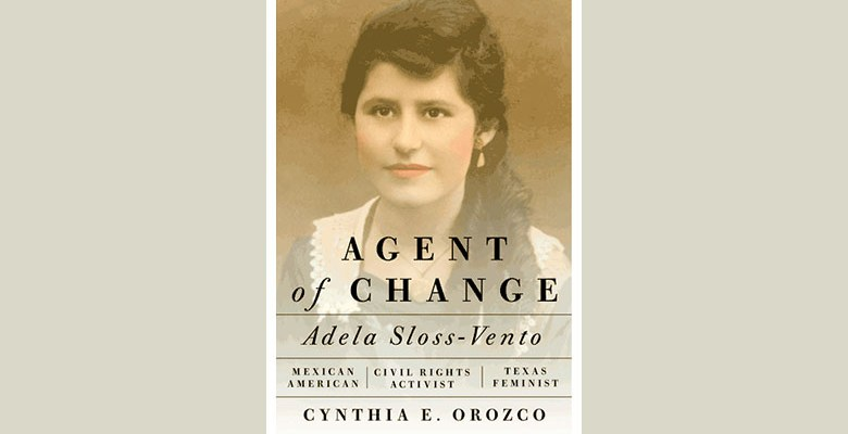 "Book cover of ""Agents of Change"" with headshot of Adela Sloss Venm"
