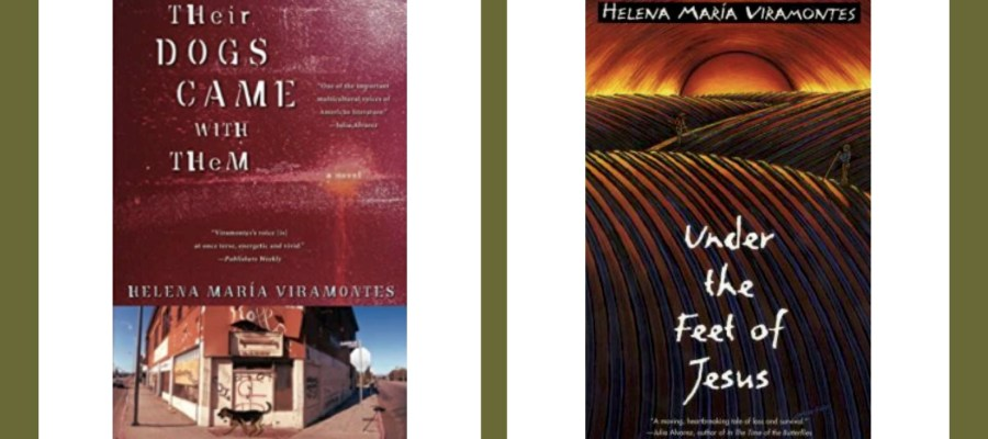 "Books covers of novel ""Under the Feet of Jesus"" and ""Their Dogs Came With Them"""