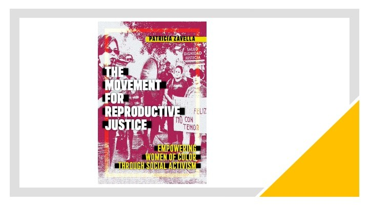 Cover of the book, The Movement for Reproductive Justice. Photo includes women activists gathered together holding a megaphone and protest signs.