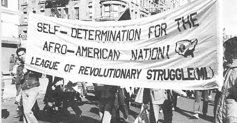 "Black and white photo of activists holding a banner that reads ""Self-Determination for the Afro-American Nation! League of Revolutionary Struggle (ML)"""