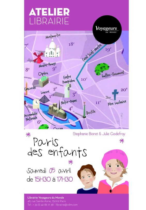 Affiche garçon et fille Atelier Librairie Voyageurs du Monde - 1