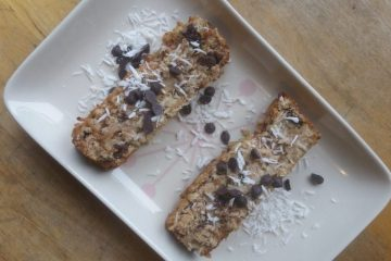Vegan coconut and fig cake slices on a plate