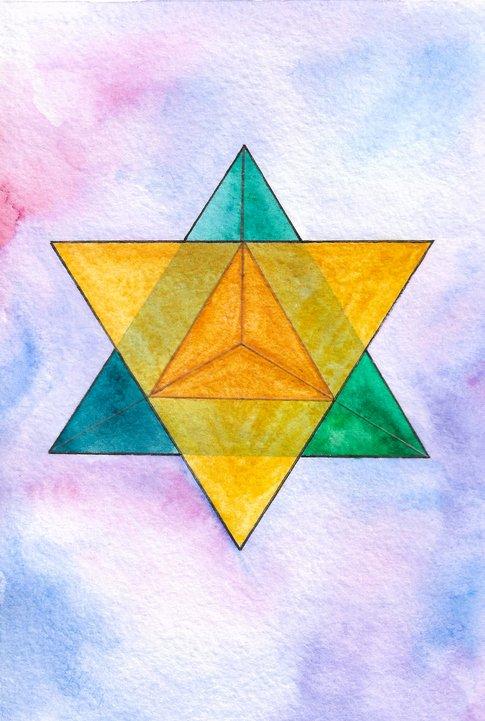 Watercolor symbol of merkaba, sacred geometry