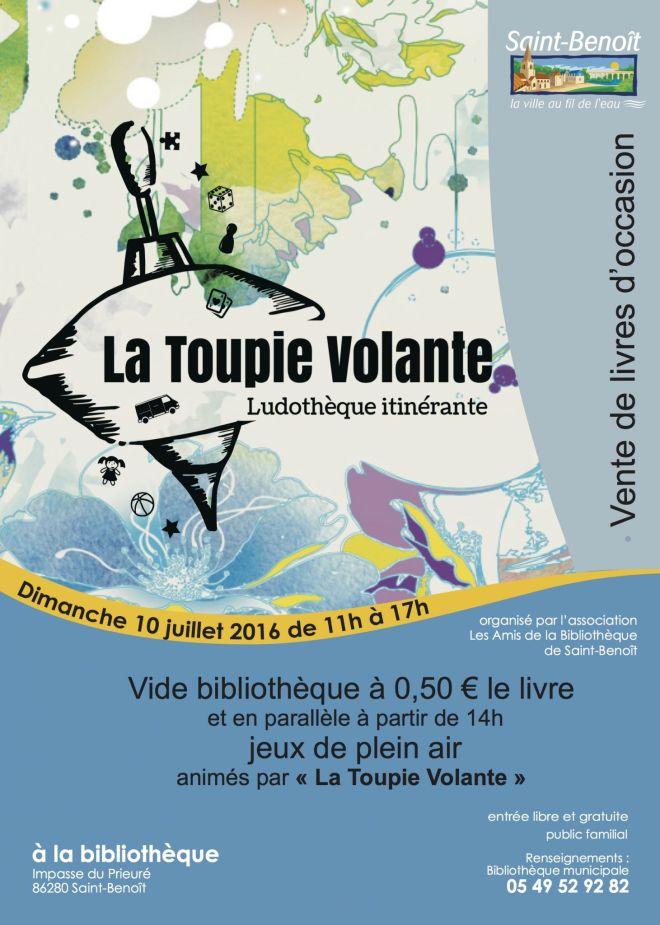 Affiche Saint-Benoît vide-bibliothèque et jeux 10 juillet 2016