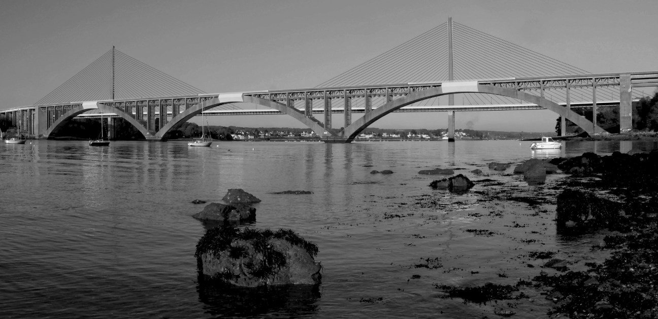 version N&B en une seule photo - Ponts ALbert Louppe et de l'Iroise - Brest