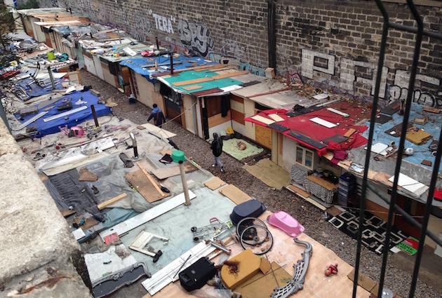 Bidonville à Paris- porte des poissonniers - novembre 2015