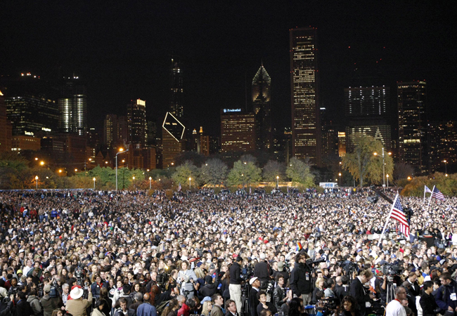 Chicago, IL on Election Nite - Barack Obama becomes the 44th US President