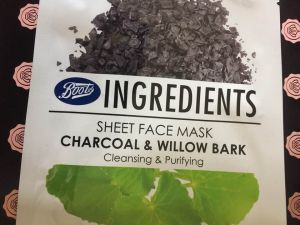 Glossy Box UK Charcoal and Willow Bark sheet mask face mask Boots UK