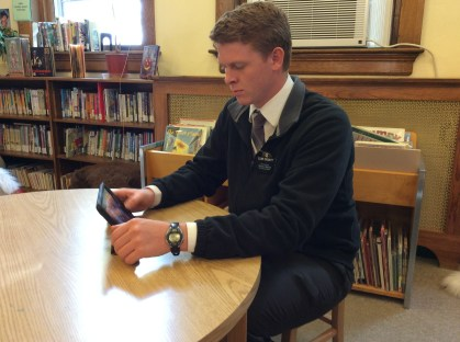 Elder Crocket trying to get wi-fi at the library