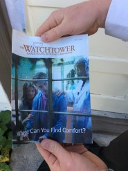 We found a Jehovah's Witnesses pamphlet at our investigator's house. We considered replacing it with our own :)