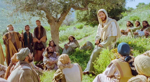 Christ teaching on side of hill