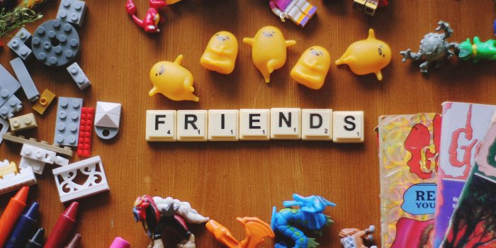 Friends spelled out in scrabble letters