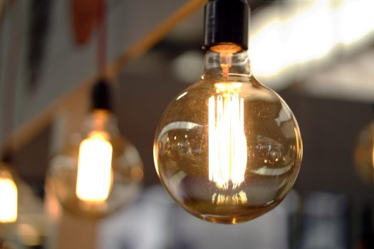 Close-up of old-style lightbulbs in a warehouse