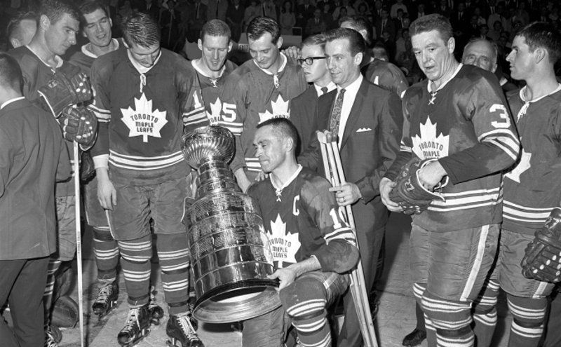 The Toronto Maple Leafs, with the 1967 Stanley Cup.
