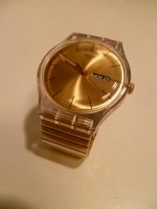 montre swatch doré or eighties