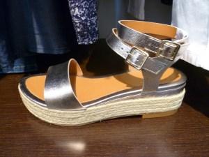 sandales plateforme corde métallisées