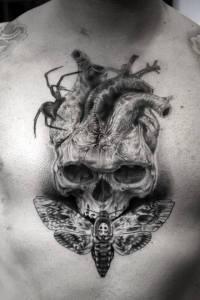 tatouage crane bombix coeur bgtattoo