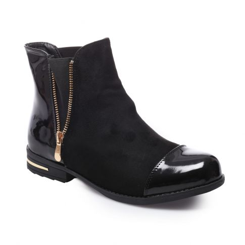 bottines chelsea boots bi-matière vernis noires la modeuse