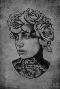 illustration-noir-blanc-femme-navire-oldschool-jeanjean