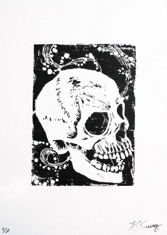 tableau-crane-noiretblanc-linogravure-magalisavary-artiste