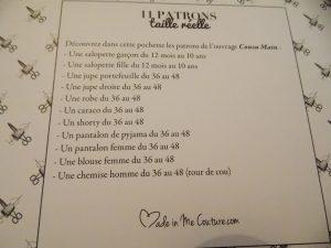 liste patron cousu main carmen