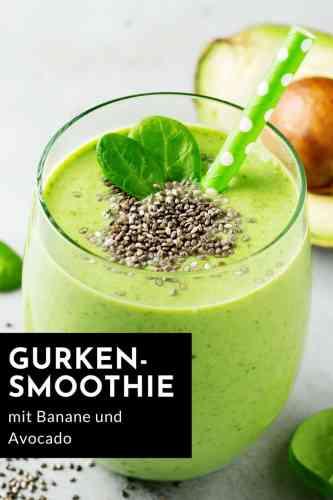 Das Rezept für einen cremigen Gurkensmoothie mit Avocado und Banane. Lecker, nährend und sättigend! #rezepte #detox #smoothie #gurke #avocado