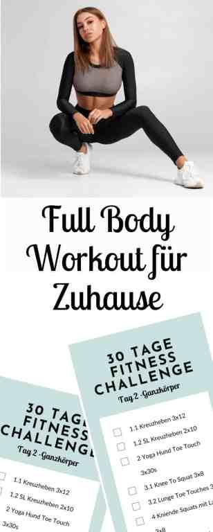 Ganzkörpertraining für zuhause - Full Body Workout at Home. An Tag 2 der 30 Tage Fitness Challenge zuhause erwartet dich ein abwechslungsreiches Fitnesstraining für den ganzen Körper. Du formst und straffst deine Muskulatur und bringst deine Fitness auf ein neues Level. Die Übungen kommen dabei fast ohne Geräte aus!