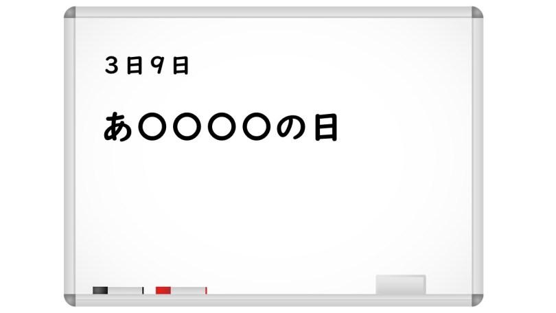ホワイトボードを用いた記念日クイズの出題の流れ その1