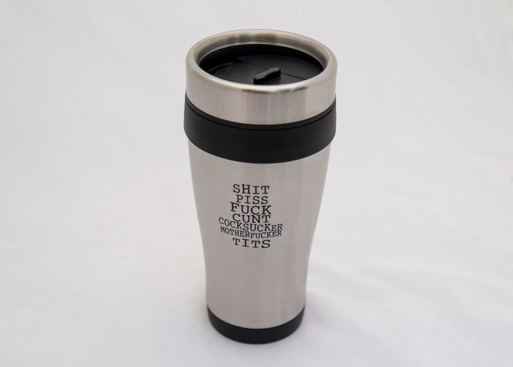 Seven Deadly Words Travel Mug