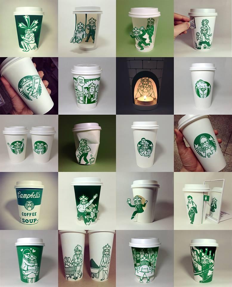 Starbucks Cup Art by Soo Min Kim 4