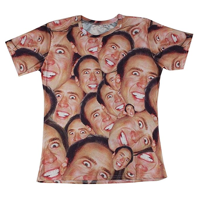 Laugh Nicolas Cage Face T-shirt with Hip Hop Sleeves