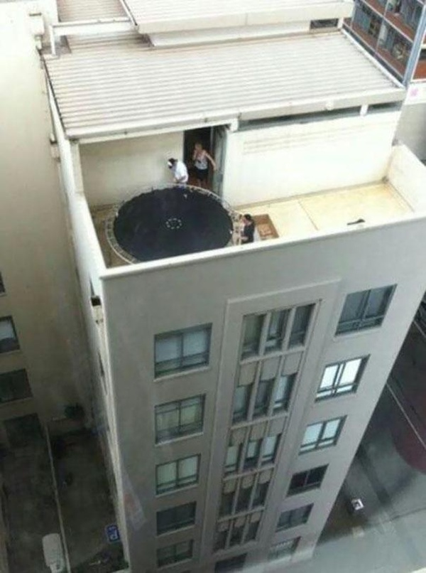 Not the safest place for trampoline