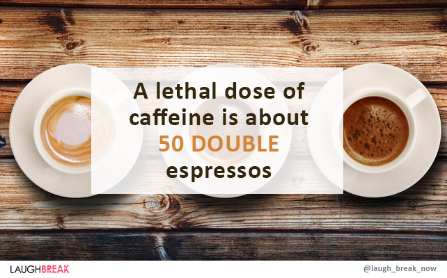 A lethal dose of caffeine is about 50 double espressos