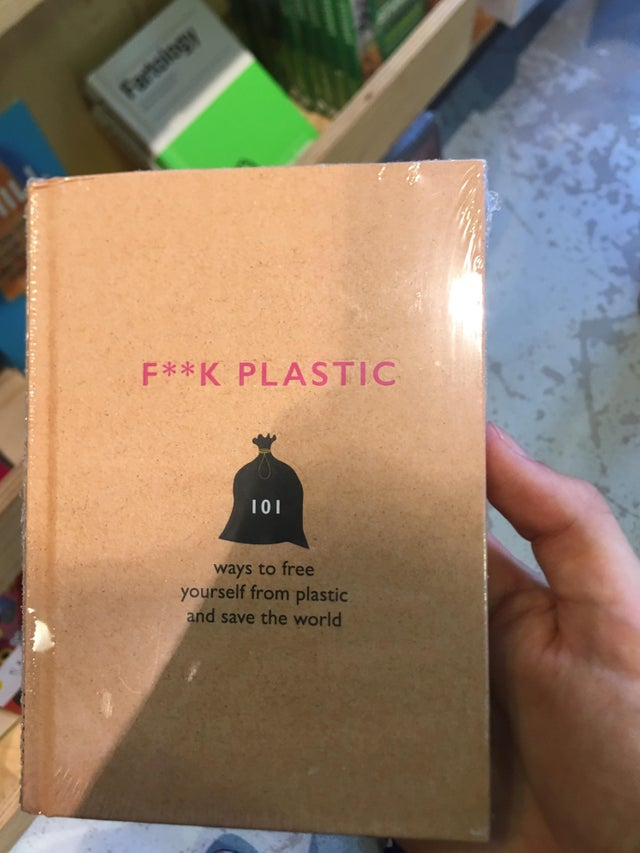 An anti-plastic book wrapped in plastic